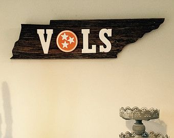 Reclaimed Barn Wood sign - solid OAK- state of Tennessee with TN Tri-star Flag in Tennessee Orange & VOLS University of Tennessee Volunteers