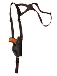 New Brown Leather Vertical Shoulder Holster for Compact 9mm 40 45 Pistols (#22VERBR)