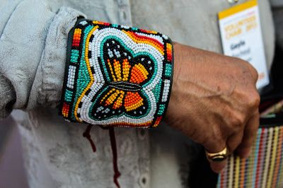 ☯☮ॐ American Hippie Bohemian Style ~ Beaded Native Butterfly Cuff