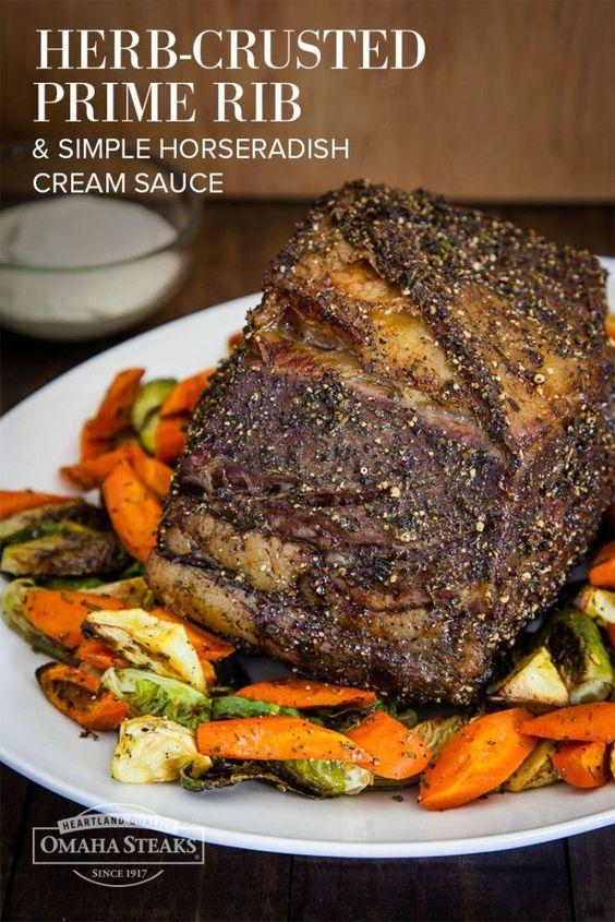 Herb Encrusted Prime Rib Roast with Simple Horseradish Cream Sauce