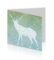 Zakelijke kerstkaart met rendier en stippeltjes in vintage design. Aan de binnenzijde is ruimte gecreëerd voor uw logo.