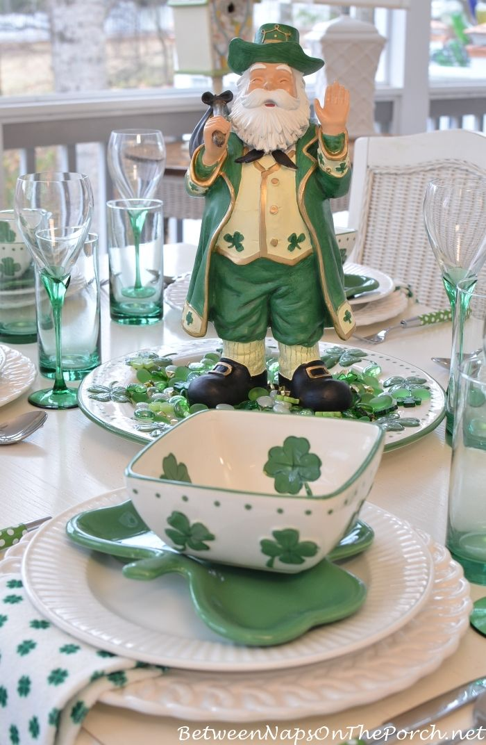 Shamrock Dishes and Plates for St. Patrick's Day on Between Naps on the Porch