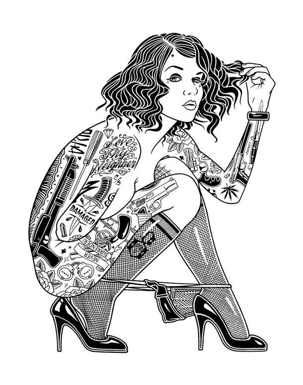 Une jolie série d'illustrations mêlant jolies filles, skateboard et tatouages !
