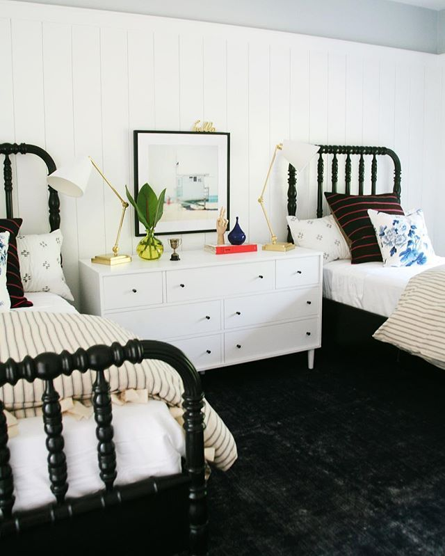 Is there anything sweeter than a pair of Jenny Lind beds? Love these black mahogany beauties from our Montecito beach house project!