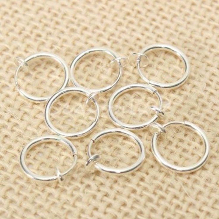 8pcs/pack Fake Piercing Septum Stud Earrings Goth Punk Clip On Piercing Body Ear Nose Lip Rings Hoop Ear Silver Jewelry Cheap Z2