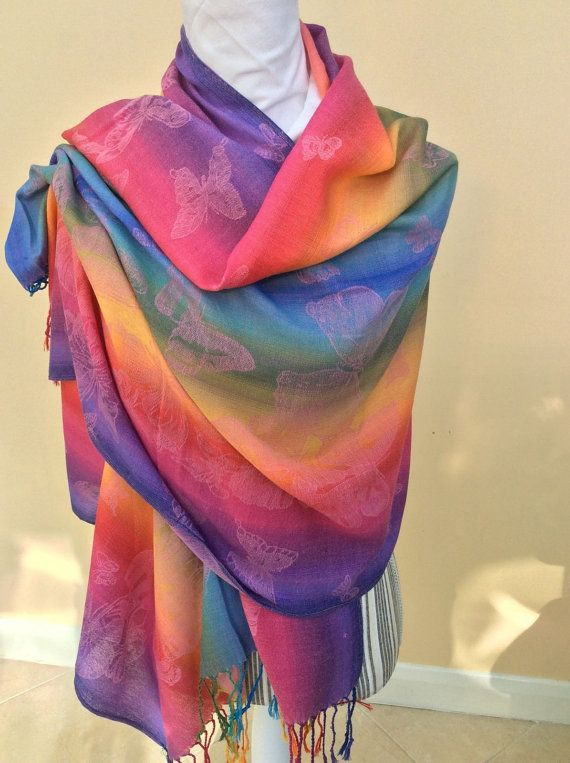 Lilac Rainbow Multicolour Pashmina with Butterfly Design