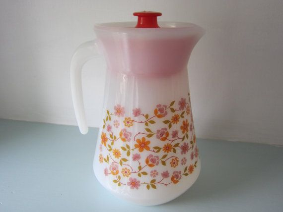 Vintage French Arcopal milk glass jug, pitcher with lid