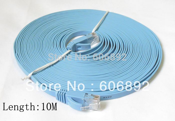 Free shipping 10M CAT6 RJ45 cable Flat UTP 10/100/1000Mbps Ethernet Network Cable For PC Router DSL Modem