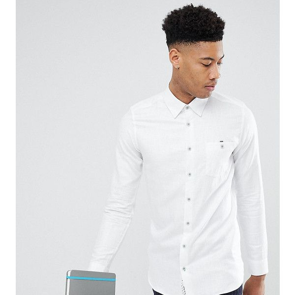 Ted Baker TALL Slim Smart Shirt In White Linen ($174) ❤ liked on Polyvore featuring men's fashion, men's clothing, men's shirts, men's dress shirts, white, ted baker mens shirts, mens linen dress shirt, mens slim fit linen shirts, mens white linen shirt and men's spread collar dress shirts