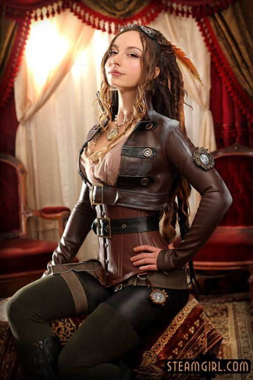 Love the detailing on the jacket and the combination with the leather corset.