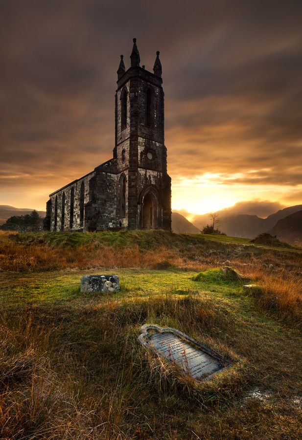 Nestled at the foot of Errigal (the highest mountain(2,464ft) in County Donegal) and overlooking the beautiful Poisoned Glen is the ruins of Dunlewy Church.