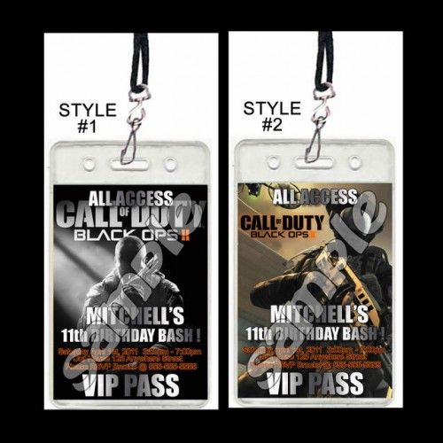 11 best call of duty party images on pinterest birthdays 13th call of duty black ops set of 12 vip party invitation passes filmwisefo Image collections