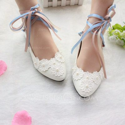 [US$ 24.99] Women's Patent Leather Flat Heel Closed Toe Flats With Lace-up Applique