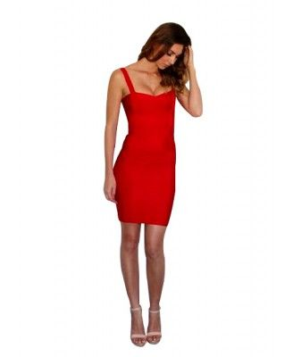 Chloe - Red, Strappy Bandage Dress. Price: 119.00 AUD