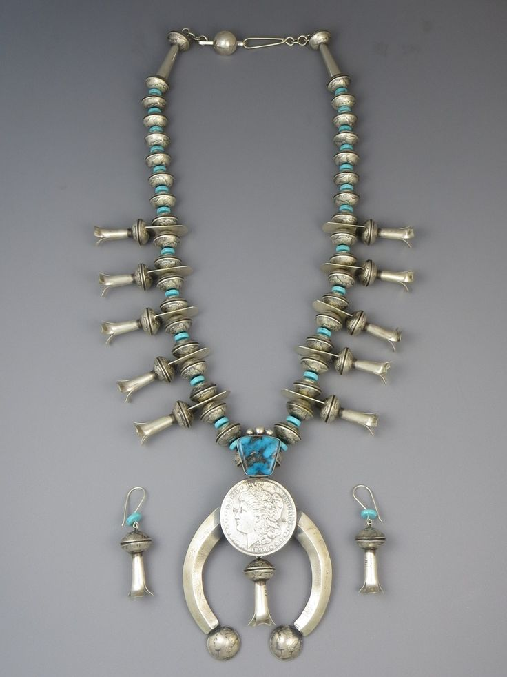 Old Coin Mercury Dime Morgan Dollar Kingman Turquoise Squash Blossom Necklace Set by James McCabe - Southwest Silver Gallery