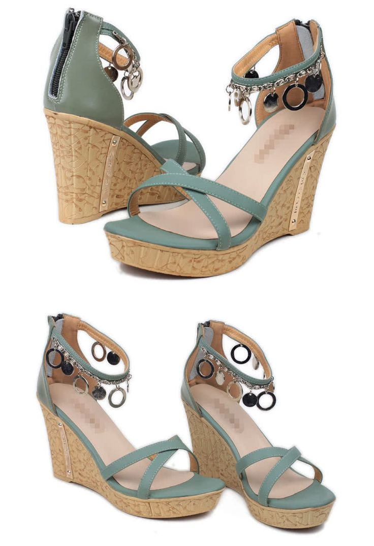 Cheap green Summer Women Sandals High Wedges PU Leather Cross-over Strap Shoes Green Online Shopping | Tomtop