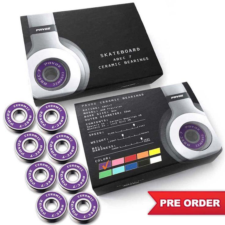 Pro Ceramic Skateboard Bearings 2.0 Top Quality High Speed No Rust ABEC-7 Purple - PRE ORDER
