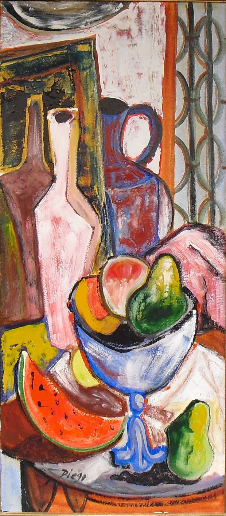 """#DiegoVoci™ - """"Still Life with Pottery"""" using glass paint is more rare than Diego's abstracts. A few incl. this oblong 35""""x16"""" colorful Diego."""