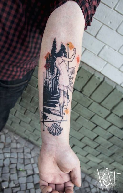 Girl playing piano in the woods by Koit Tattoo from Berlin, Germany. Great combination of abstract graphic style elements. Koittattoo@gmail.com