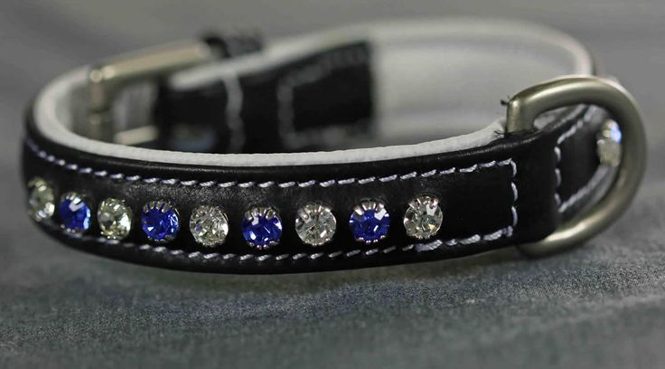 DC017 - Sapphire and Clear Single Row Crystal Dog Collar | Flexible Fit Equestrian