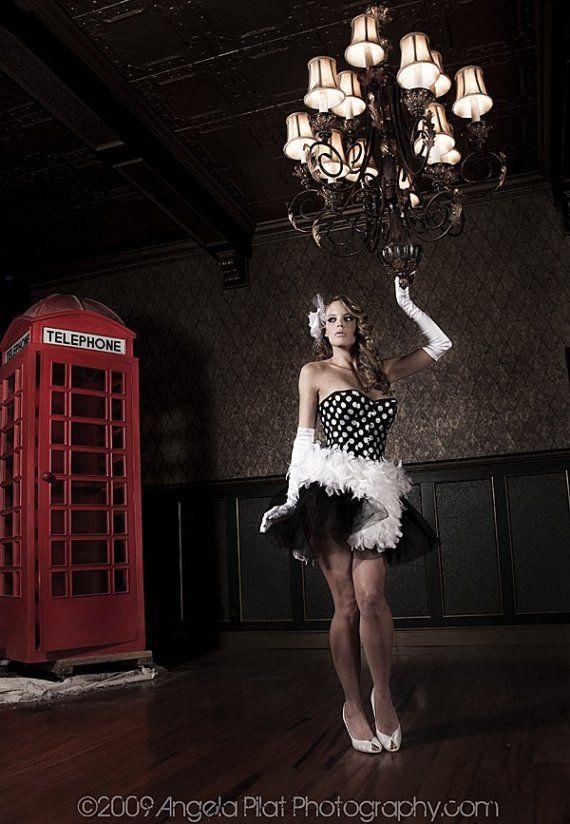 Custom Size Burlesque corset dress, prom,costume, halloween, las vegas showgirl black and white polka dot Pin up