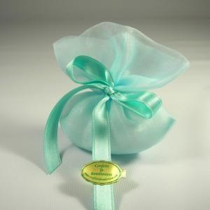 Sacchetto portaconfetti verde acqua