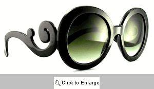 Baroque Big Round Designer Sunglasses - 316 Black