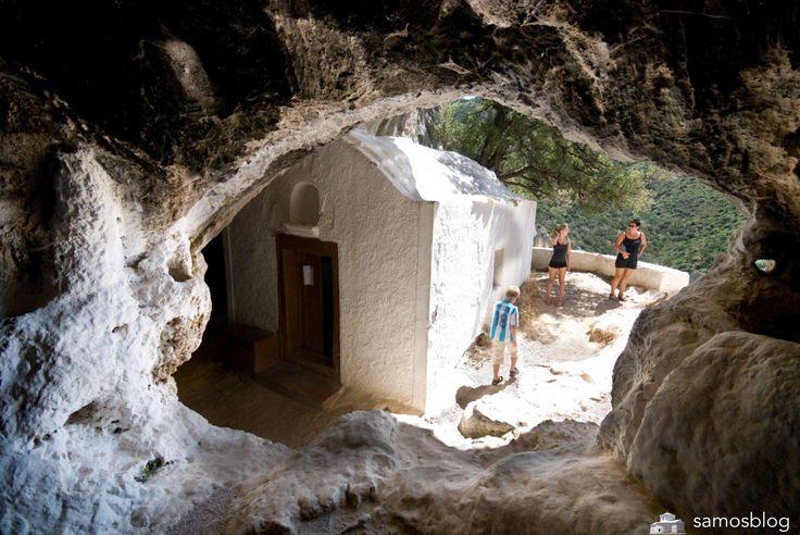 View from inside Pythagoras cave Samos Island