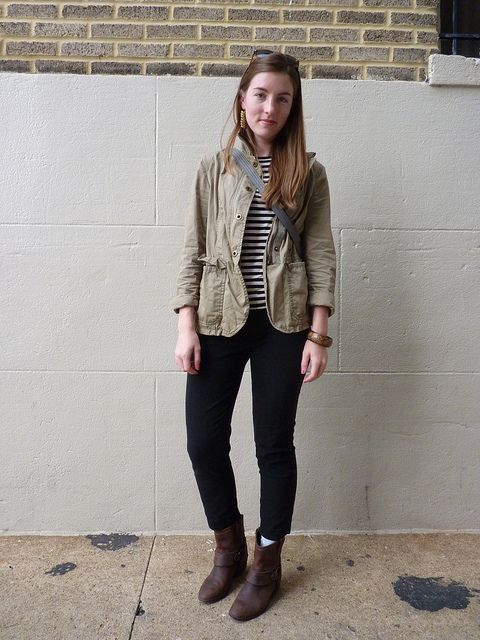 """The perfect """"in-flight"""" outfit. Comfy, stretchy pants, socks, cute tee and a stylish , multi-compartment jacket: Sock, Tough Girl, Outfit, Khaki Skinnies, Girl Boots, Multi Compartment Jacket"""