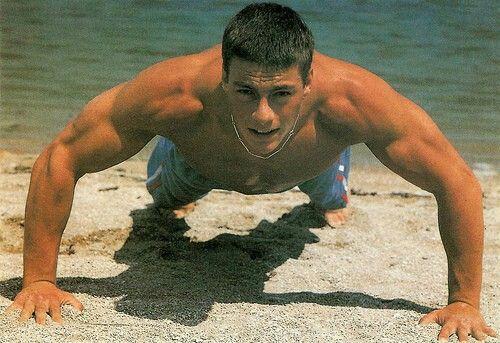 Jean Claude Van Damme doing push ups.