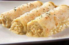 Canelones de choclo con salsa blanca