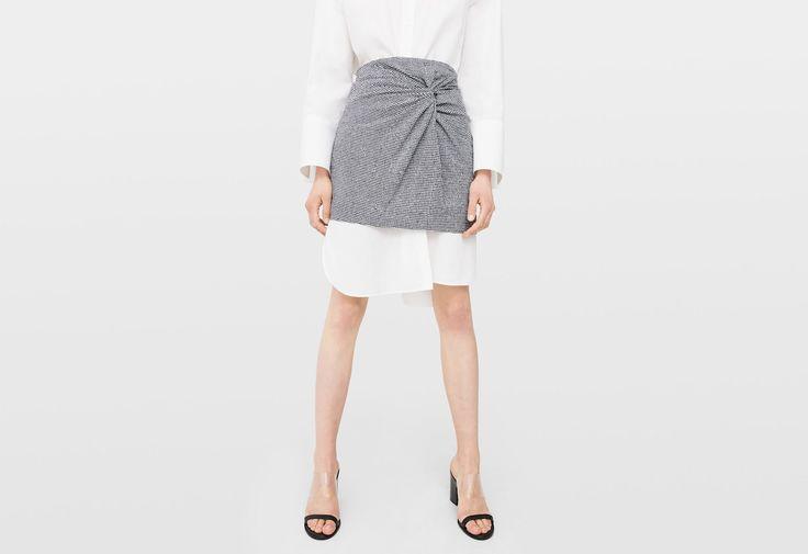 Draped printed skirt