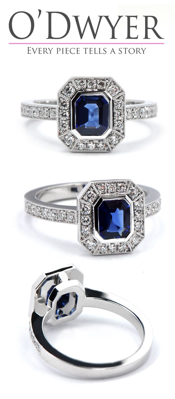 Antique Ring - 18ct white gold ring with an blue sapphire emerald cut centre surrounded with diamonds. Vigselring Förlovningsring.