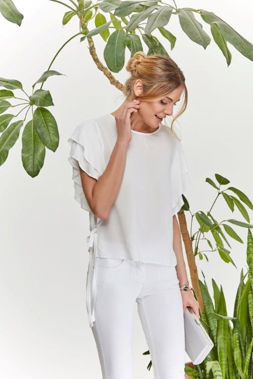 Kolekcja Claudia & Top Secret white frill blouse total white white outfit pants