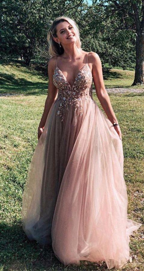 V-Ausschnitt langes Abendkleid mit Perlenstickerei, beliebtes Abendkleid, Mode …   – Prom dresses