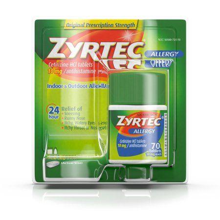 Zyrtec Prescription-Strength Allergy Medicine Tablets With Cetirizine, 70 Count, 10 mg, Multicolor