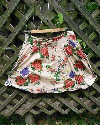 OLD-NAVY-100-Cotton-Skirt-Floral-Flower-Coral-Flare-Short-Lined-Sz-2-X-Small