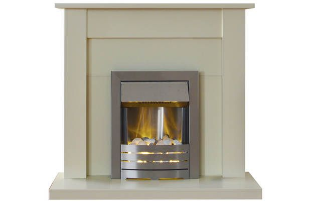 Adam Sutton 2kW Electric Fireplace Suite - Ivory: The Sutton by Adam is a medium sized fireplace in satin… #UKShopping #OnlineShopping