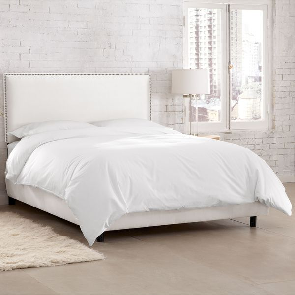 Skyline Furniture Burling Nail Button Border Bed in Micro-Suede White