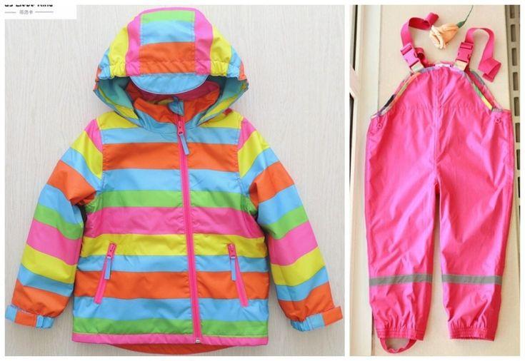 2017Brand Children's Raincoat Rain Pants Overalls Windproof Waterproof Suit for Children free Shipping In Stock