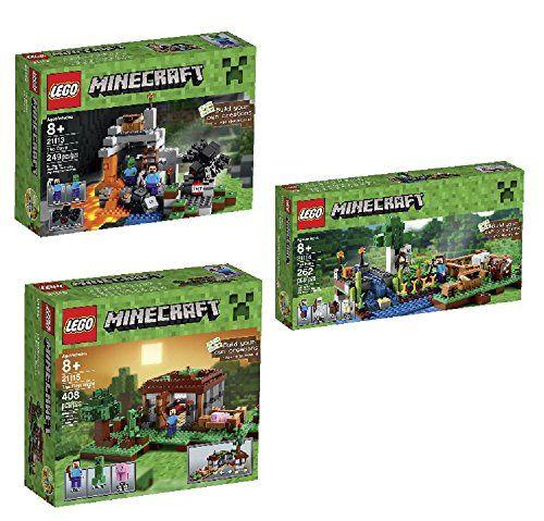 LEGO Minecraft The Cave 21113 Playset & LEGO Minecraft 21115 The First Night & LEGO Minecraft 21114  @ niftywarehouse.com