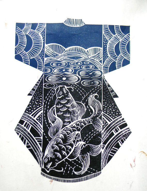 Kimono Original Handprinted Linocut Print by mangleprints on Etsy, £35.00