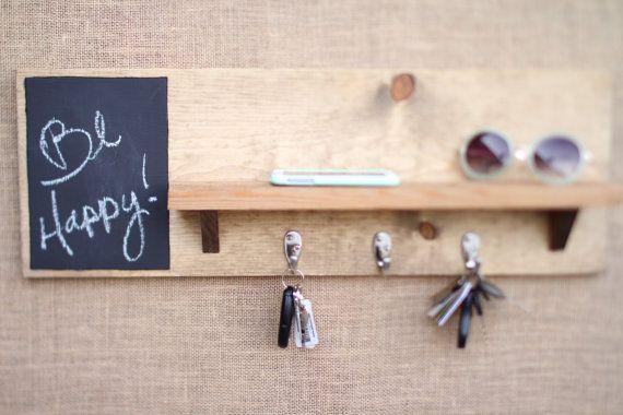 Chalkboard Key Holder Entryway Shelf by WildHouseDesigns on Etsy