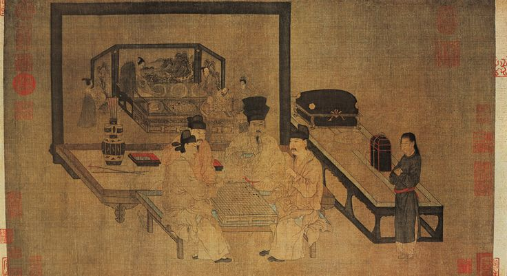 Playing Weiqi (Go) under Double Screens (重屏會棋圖)  Zhou Wenju (周文矩, 10th c.), Five Dynasties Period (907-960)    Handscroll, ink and color on silk, 40.3 x 70.5 cm, Palace Museum, Beijing