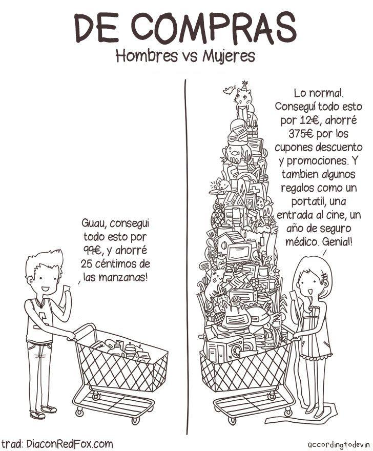De compras. Hombres vs Mujeres.