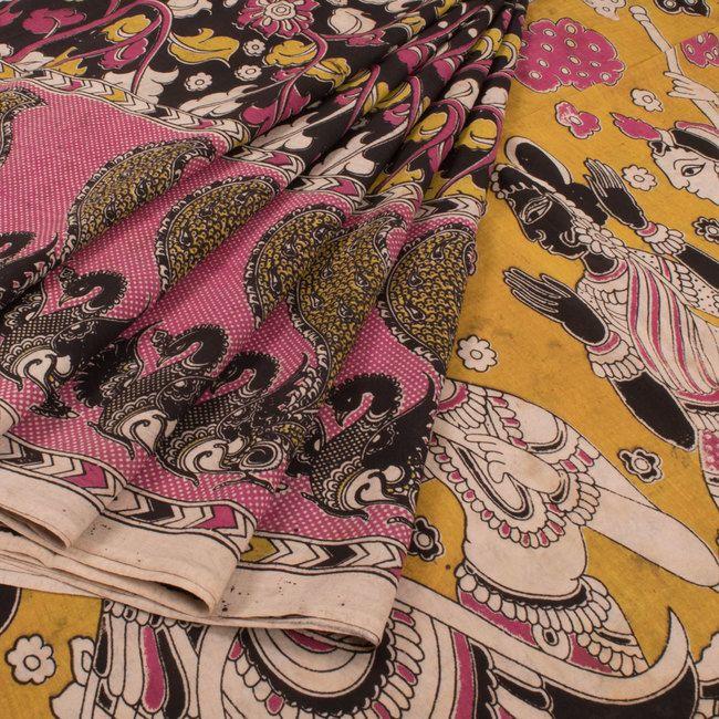 Hand Crafted Printed Kalamkari Cotton Saree 10015986 - AVISHYA.COM