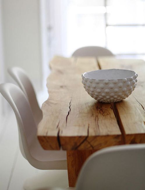 rough wooden slab table