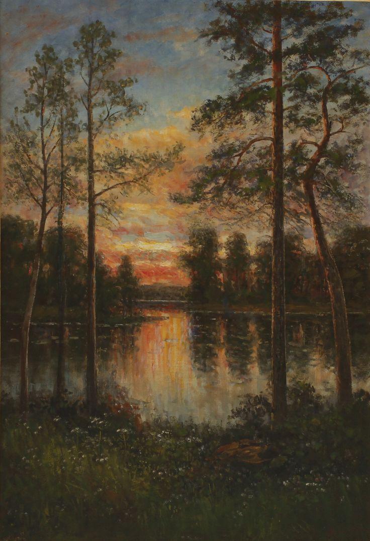 SEVERIN NILSON. Solnedgång vid sjön. Olja på duk, signerad.