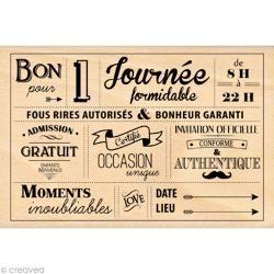 Tampon étiquette - Border line - Pour une journée formidable 10 x 15 cm