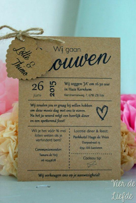 Kraft trouwkaart met hartje - Lotte & Thimo